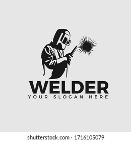 Welding company logo design, WELDER LOGO, silhouette A CONCENTRATED WORKER