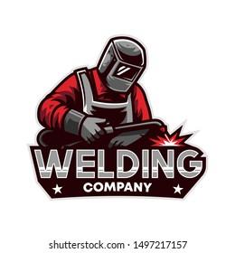 Welding Company Mascot, Logo Design Template
