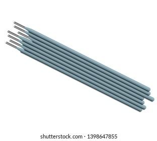 Welding electrodes. Accessories of welder. Vector welding rods on white background.