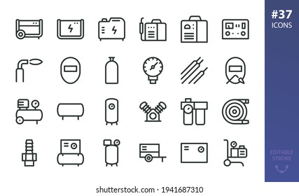 Welding Equipment and Air Compressors isolated icons set. Set of diesel generator, welding machine, car charger starter, welding mask, air compressor and receiver, airless paint sprayer vector icon