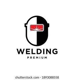 Welding Helmet with Spark Logo Design, Welder Tool Vector Design, Welding Work Logotype