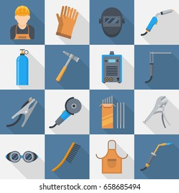 Welding icon set. Supplies and equipment for metal joining, safe and modern technology. Vector flat style cartoon illustration isolated on white background