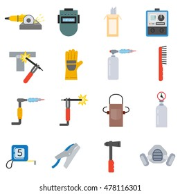 Welding icons set. Welding tools collection in flat style