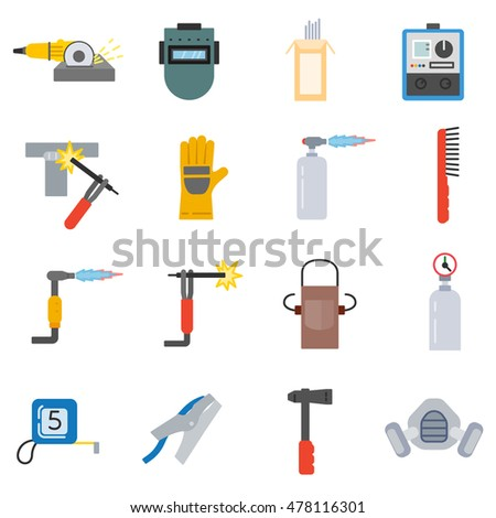 welding icons set welding tools collection stock vector (royaltywelding icons set welding tools collection in flat style