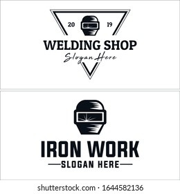 Welding logo with black line vector triangle mask helmet suitable for construction welder service iron business provide