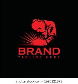 WELDING LOGO, Welding working logo design, Welder company logo design, coll silhouette