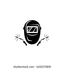 Welding mask icon, Welding work, Emblem design on white background.