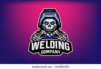 welding skull company mascot logo