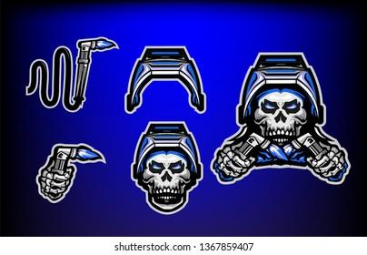 the welding skull set vector
