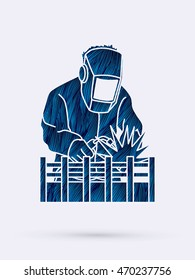 Welding with sparks designed using blue grunge brush graphic vector.