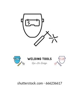 Welding tools icon, Welding machine and welder mask, Vector thin line art symbol