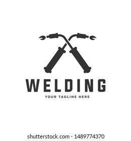 Welding torch with spark logo design. Welder tool vector design. Welding work logotype