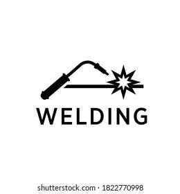 Welding torch with spark logo design. Welder tool vector design.