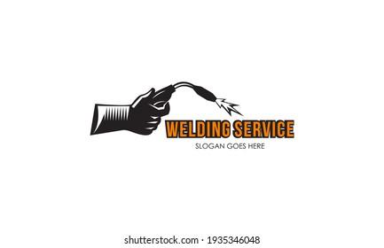Welding torch with spark logo design. Welder tool vector design