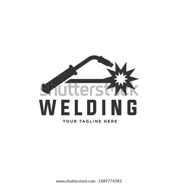 Welding Torch Spark Logo Design Welder Stock Vector Royalty Free 1489774382