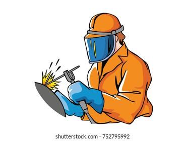 welding worker doing his work - builder architecture