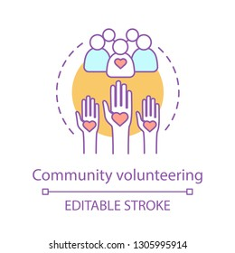 Welfare volunteering concept icon. Charitable corporate foundation. Social responsibility. Thin line illustration. Non profit organization. Community service. Vector outline drawing. Editable stroke
