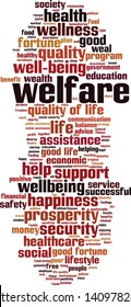 Welfare word cloud concept. Collage made of words about welfare. Vector illustration