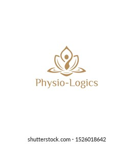 Well Body Fitness Logo, Cosmetic Brand identity. For Spa product and Beauty Salon Business. Stylized human yoga shape in abstract lotus symbol. Vector icon.