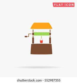 Well Icon Vector. Flat color symbol on white background with shadow