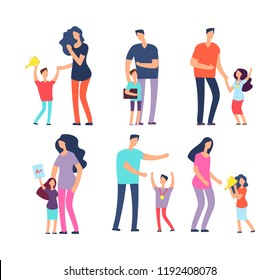 Well studied kids. Excellent pupils, praising parents and teachers. Students, school children, adult people vector cartoon characters. Illustration of praise kids, mother parent praising children