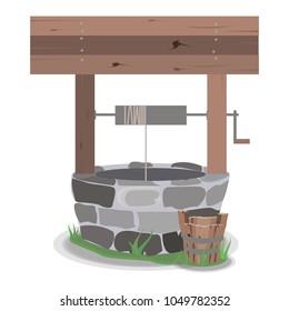 well tree bucket water stone grass vector