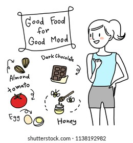 Well-being concept with cute and sporty woman pointing at some food for nourishing good mood such as almond, tomato, egg, dark chocolate, honey. Portrait of healthy girl and good food for better mood.