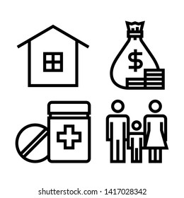 Wellbeing human life icons set. House, money, drugs, male, female and child icons. Simple design. Line vector. Isolate on white background.