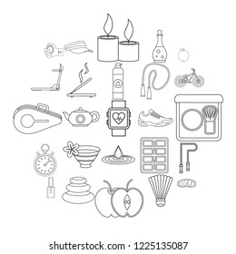 Well-being icons set. Outline set of 25 well-being vector icons for web isolated on white background