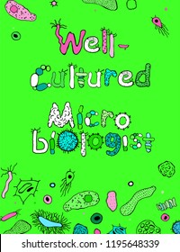 Well-cultured microbiologist. Creative poster in luminescent colors. Microbiological hand drawn lettering. Editable vector illustration on bright green background. Scientific, biological design.