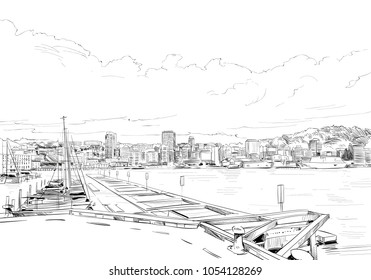 Wellington. New Zealand. Hand drawn city sketch. Vector illustration.