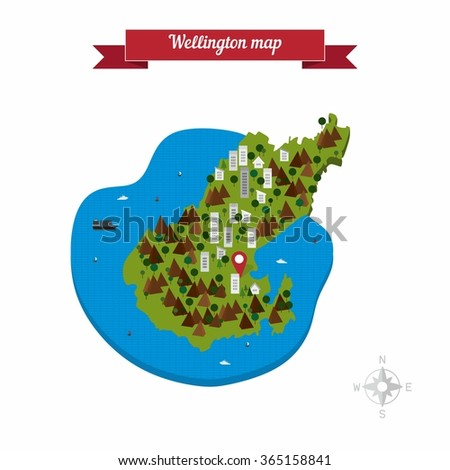 Map Wellington New Zealand.Wellington New Zealand Map Flat Style Stock Vector Royalty Free