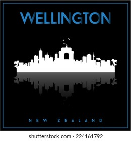 Wellington, New Zealand, skyline silhouette vector design on parliament blue and black background.