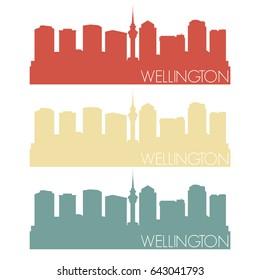 Wellington Skyline Silhouette City Famous Vector Vintage Color Set Design