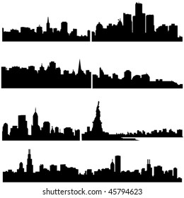 Well-known American cities in modern architecture.