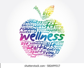 Wellness apple word cloud collage, health concept background