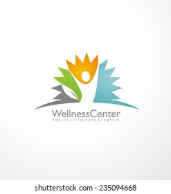 Wellness center logo design concept. Spa and massage symbol template. Healthy life style creative icon layout. Colorful abstract shape with leaf and human figure in negative space.