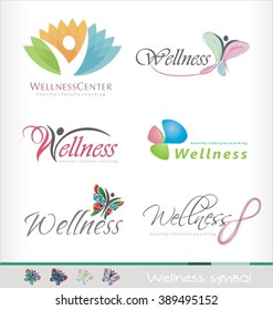 Wellness center logo design concept. Spa and massage symbol template. Healthy life style coaching icon template. Colorful abstract shape with butterfly and human figure..