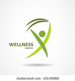 Wellness center logo in green color concept icon