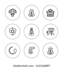 Wellness icon set. collection of 9 outline wellness icons with aromatherapy, medical symbol, meditation, lotus, gym station, transcendence, yoga icons. editable icons.