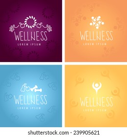 Wellness Icons And Backgrounds Set - Vector Illustration, Graphic Design, Editable For Your Design