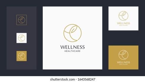 wellness logo design template premium. stock vector