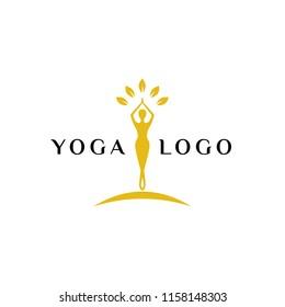 wellness logo template. yoga logo stock. balance meditation vector illustration.