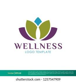 Wellness Lotus Icon Vector Logo Template