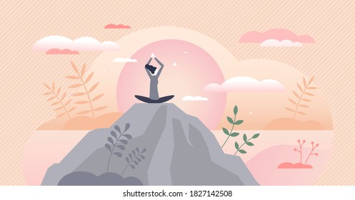Wellness as physical and mental health harmony balance tiny persons concept. Mind peace control with yoga and calm meditation in nature vector illustration. Daily habits for improving life quality.