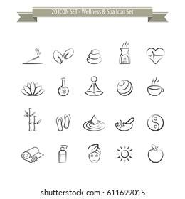 Wellness & Spa Set - 20 Icons Set