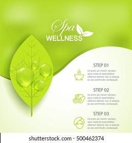 Wellness spa treatment, vector banner green background information
