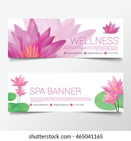 Wellness Spa Yoga banner template flyer menu cover, Lotus Flower, vector illustration