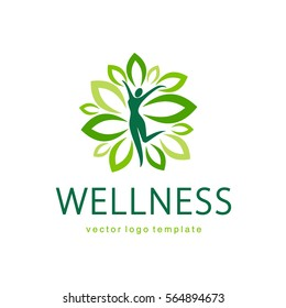 Wellness vector logo design template.