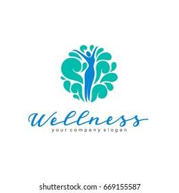 Wellness vector logo design. Women's beauty and health.